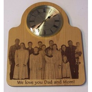 "10"" - Hardwood Clocks - Brass Face Wall - Laser Engraved - USA-Made"