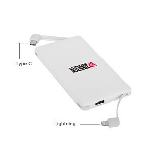 Ultra Thin 2-in-1 Built In Cable Power Bank