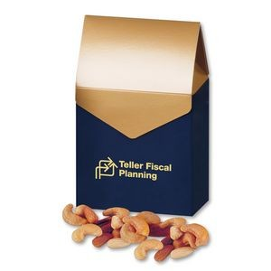 Deluxe Mixed Nuts in Navy & Gold Gable Top Gift Box