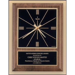 Walnut Vertical Wall Clock with Square Face. 8x10